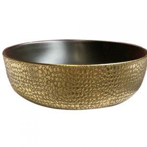 waskom mat zwart goud croco